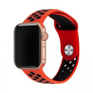 רצועת סיליקון ספורט לשעון חכם אפל בצבע אדום/שחור