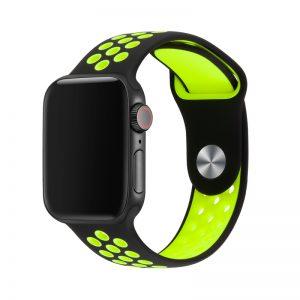 רצועת סיליקון ספורט לשעון חכם אפל בצבע שחור/צהוב