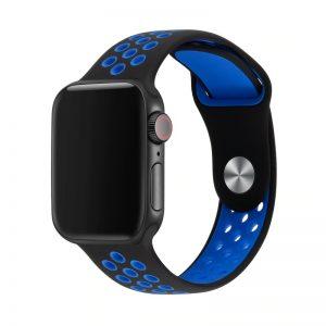רצועת סיליקון ספורט לשעון חכם אפל בצבע שחור/כחול
