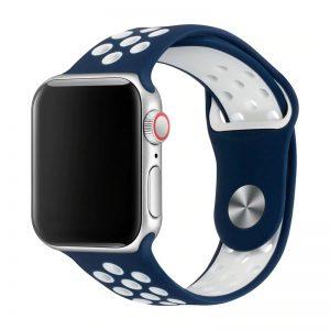 רצועת סיליקון ספורט לשעון חכם אפל בצבע כחול/לבן