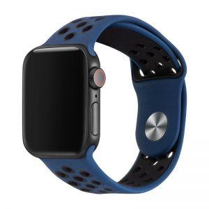רצועת סיליקון ספורט לשעון חכם אפל בצבע כחול/שחור