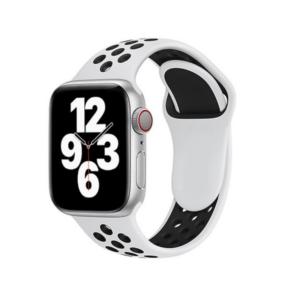 רצועת סיליקון ספורט לשעון חכם אפל בצבע לבן/שחור