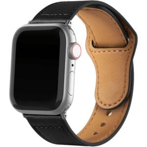 רצועת עור לשעון חכם אפל בצבע שחור