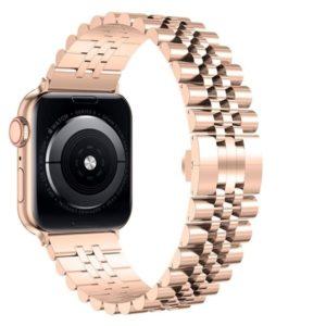 רצועת מתכת חוליות Five Beads לשעון חכם אפל בצבע Rose Gold