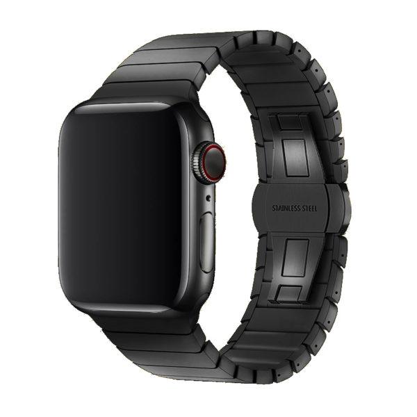 רצועת מתכת חוליות פרימיום לשעון חכם אפל בצבע שחור