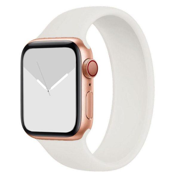 רצועת סולו לופ סיליקון לשעון חכם אפל בצבע לבן